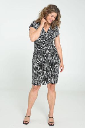 jurk met zebraprint en plooien zwart/ wit
