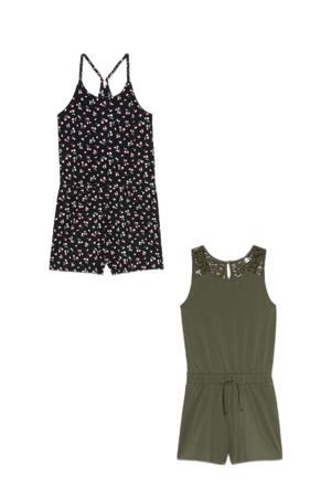 jumpsuit - set van 2 groen/zwart