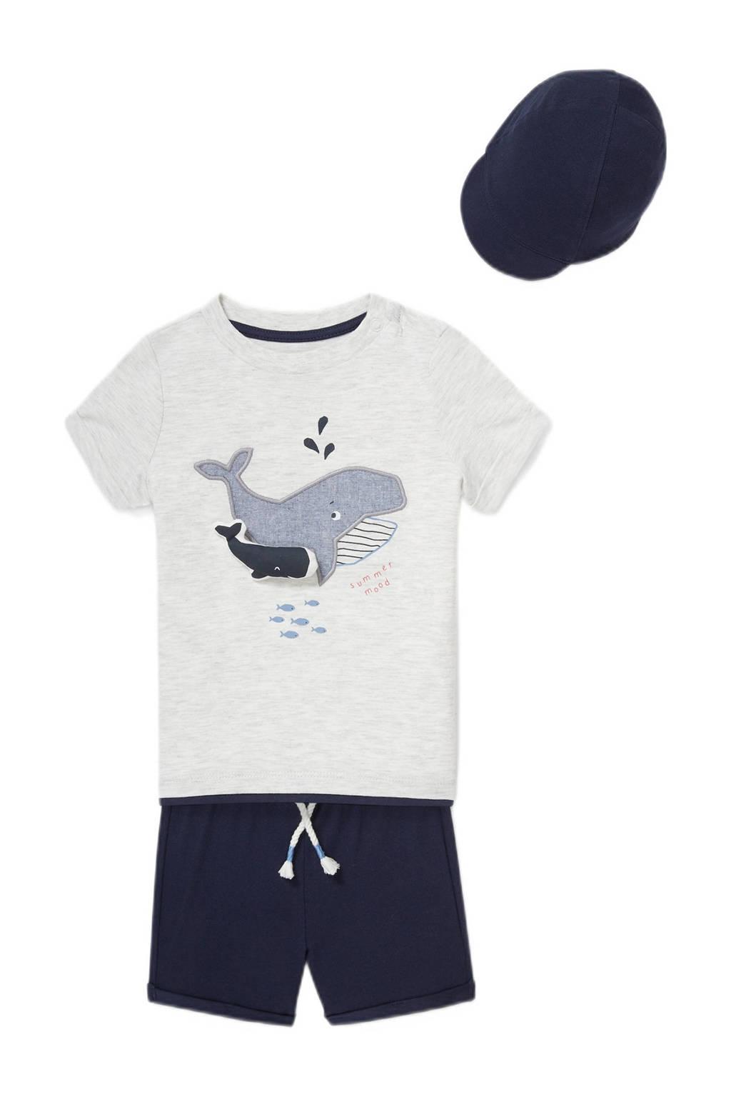 C&A Baby Club T-shirt + korte broek + pet donkerblauw/wit, Donkerblauw/grijs