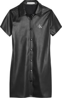 CALVIN KLEIN JEANS imitatieleren jurk met logo zwart, Zwart