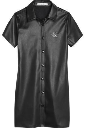 imitatieleren jurk met logo zwart
