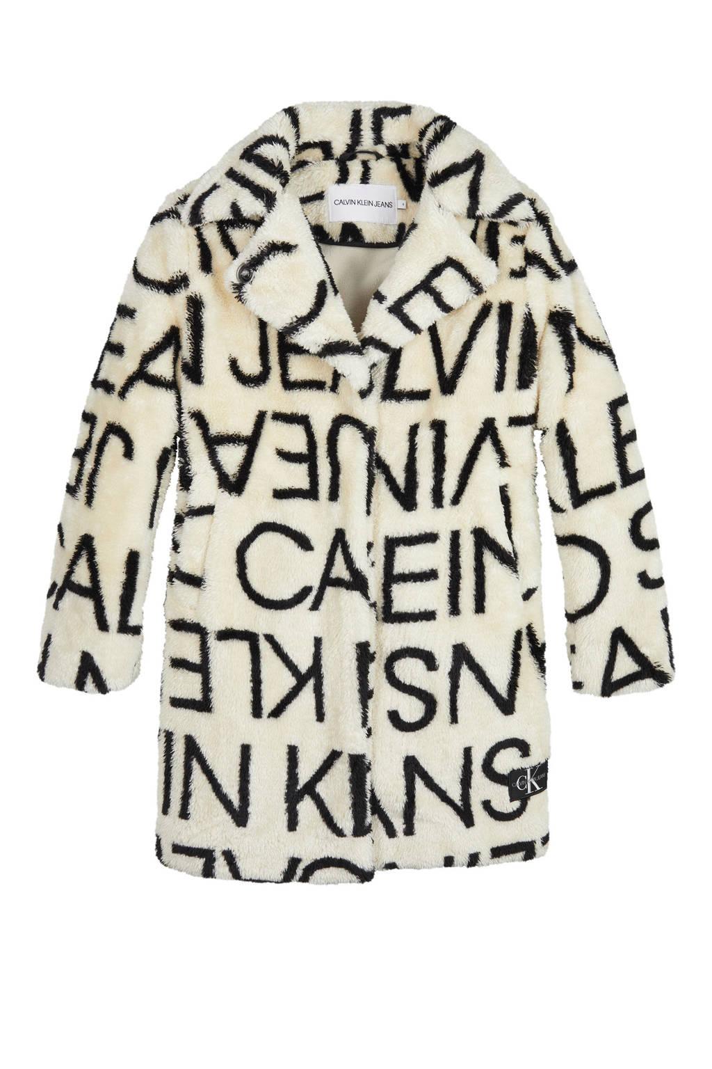CALVIN KLEIN JEANS teddy winterjas met logo ecru/zwart, Ecru/zwart
