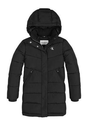 gewatteerde winterjas van gerecycled polyester zwart