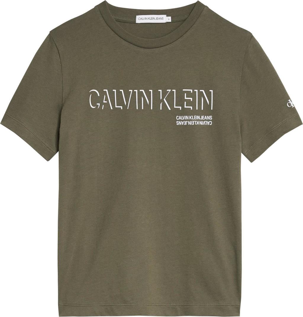 CALVIN KLEIN JEANS T-shirt van biologisch katoen donkergroen, Donkergroen