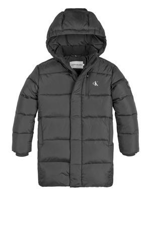 gewatteerde winterjas van gerecycled polyester grijs