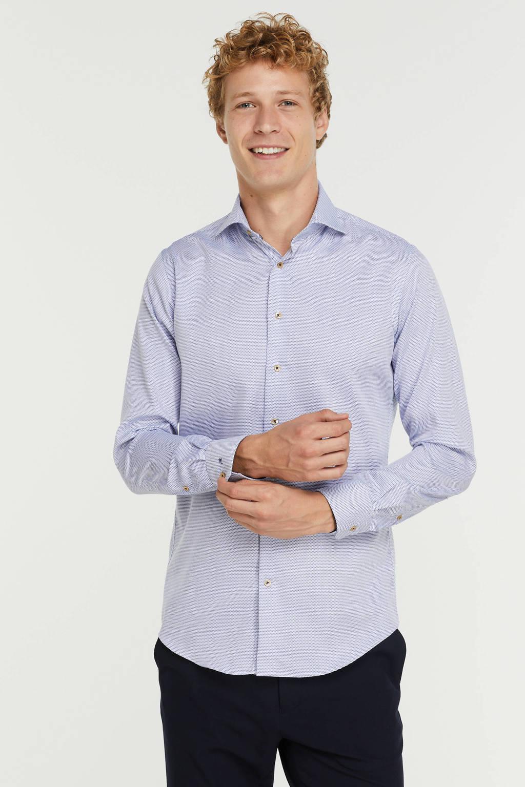 Michaelis slim fit overhemd met all over print donkerblauw, Donkerblauw
