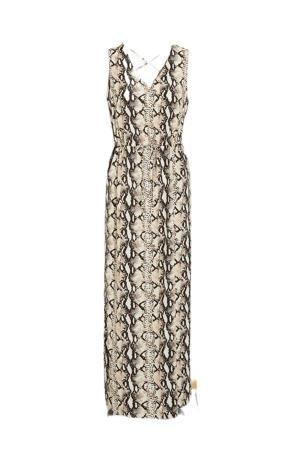 maxi jurk VMEASY met slangenprint beige