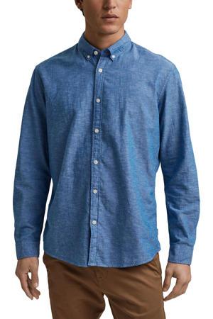 gemêleerde regular fit overhemd blauw
