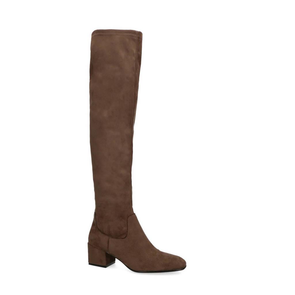 Manfield   stretch overknee laarzen taupe, Taupe/bruin