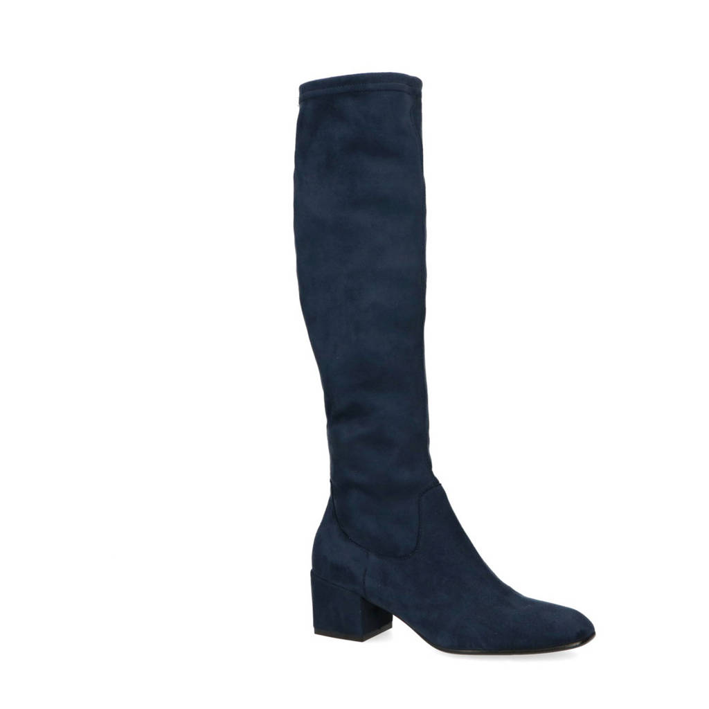 Manfield   stretch laarzen donkerblauw, Donkerblauw