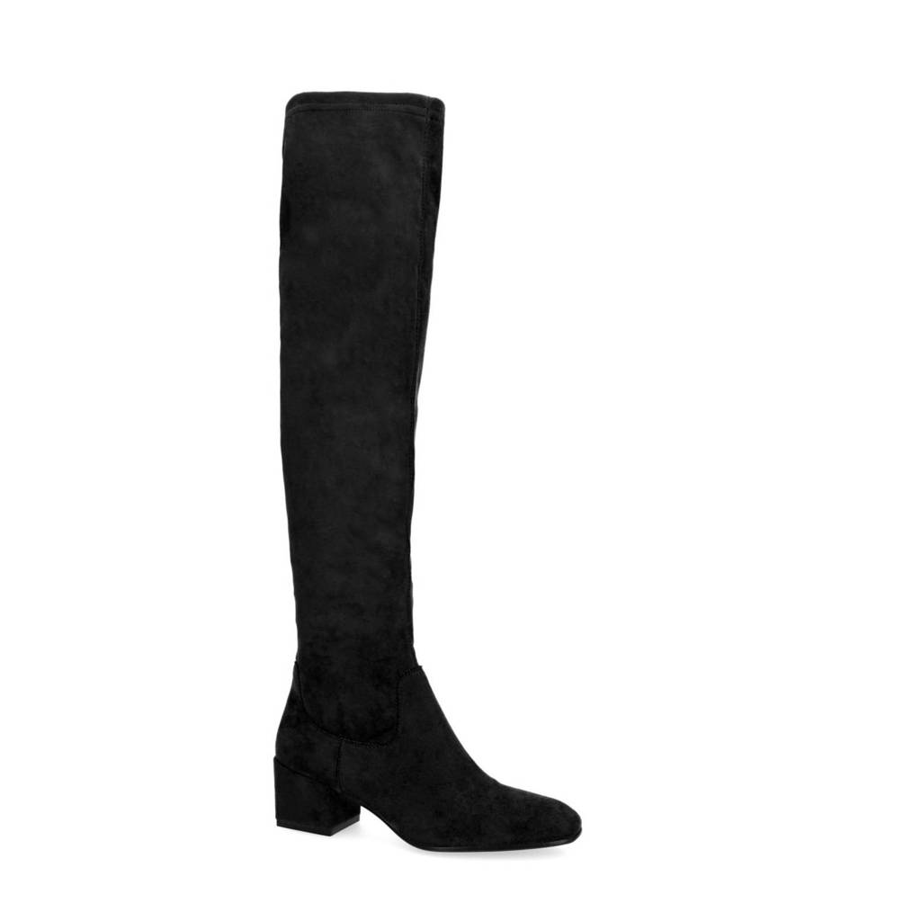 Manfield   stretch overknee laarzen zwart, Zwart