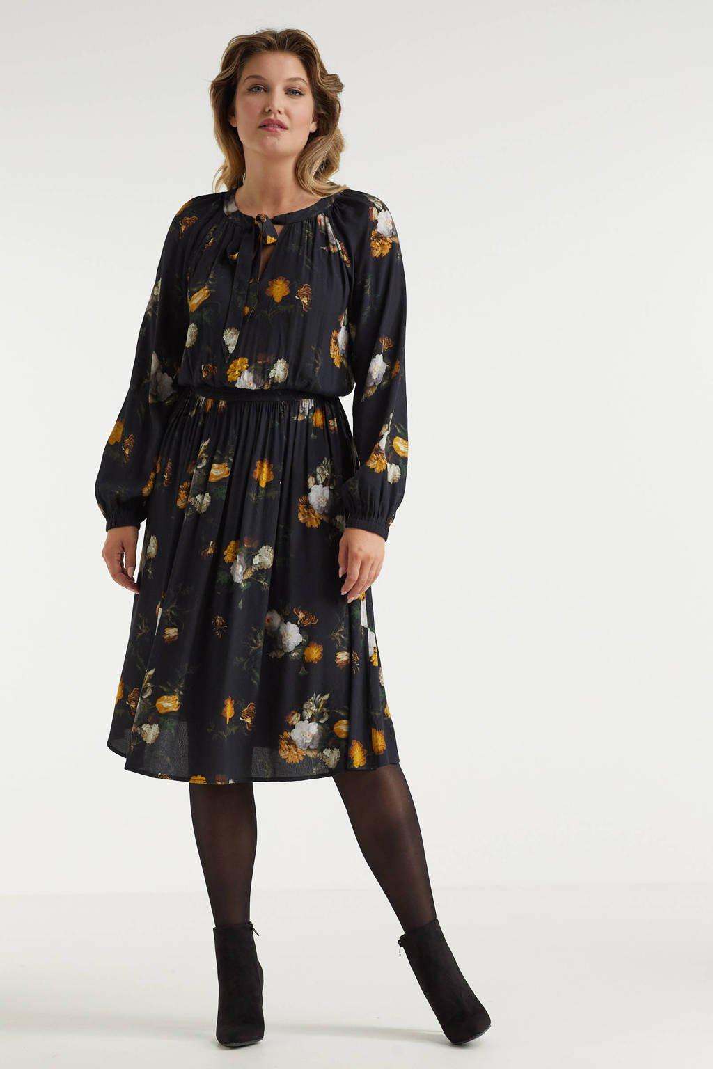 Miljuschka by Wehkamp limited edition jurk met smock bloemenprint, Zwart / Geel