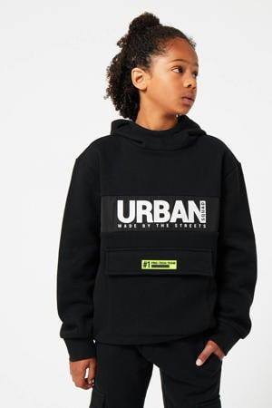 sweater Sancho met logo zwart