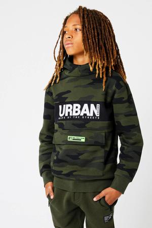 hoodie Sancho met camouflageprint groen