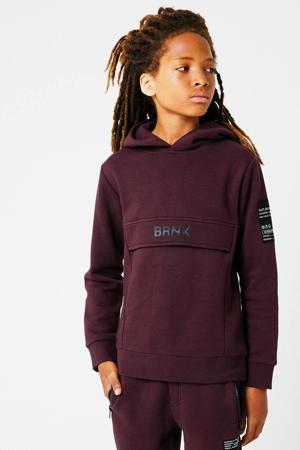 hoodie Scot met logo aubergine