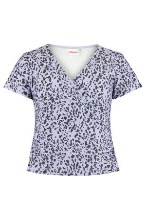 T-shirt Eila met all over print en overslag detail lila/zwart