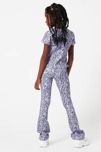 CoolCat Junior T-shirt Eila met all over print en overslag detail lila/zwart, Lila/zwart