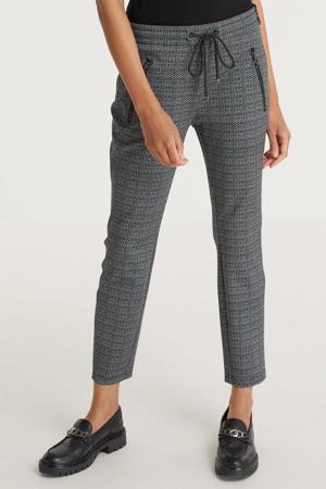 tapered fit broek Easy Smart met all over print elephant grey printed