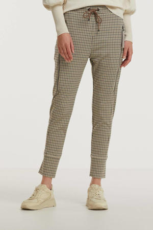 tapered fit broek Future 2.0 met pied-de-poule pearl white check