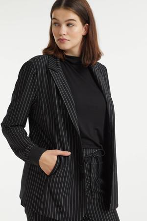 blazer Lianne met krijtstreep zwart/wit