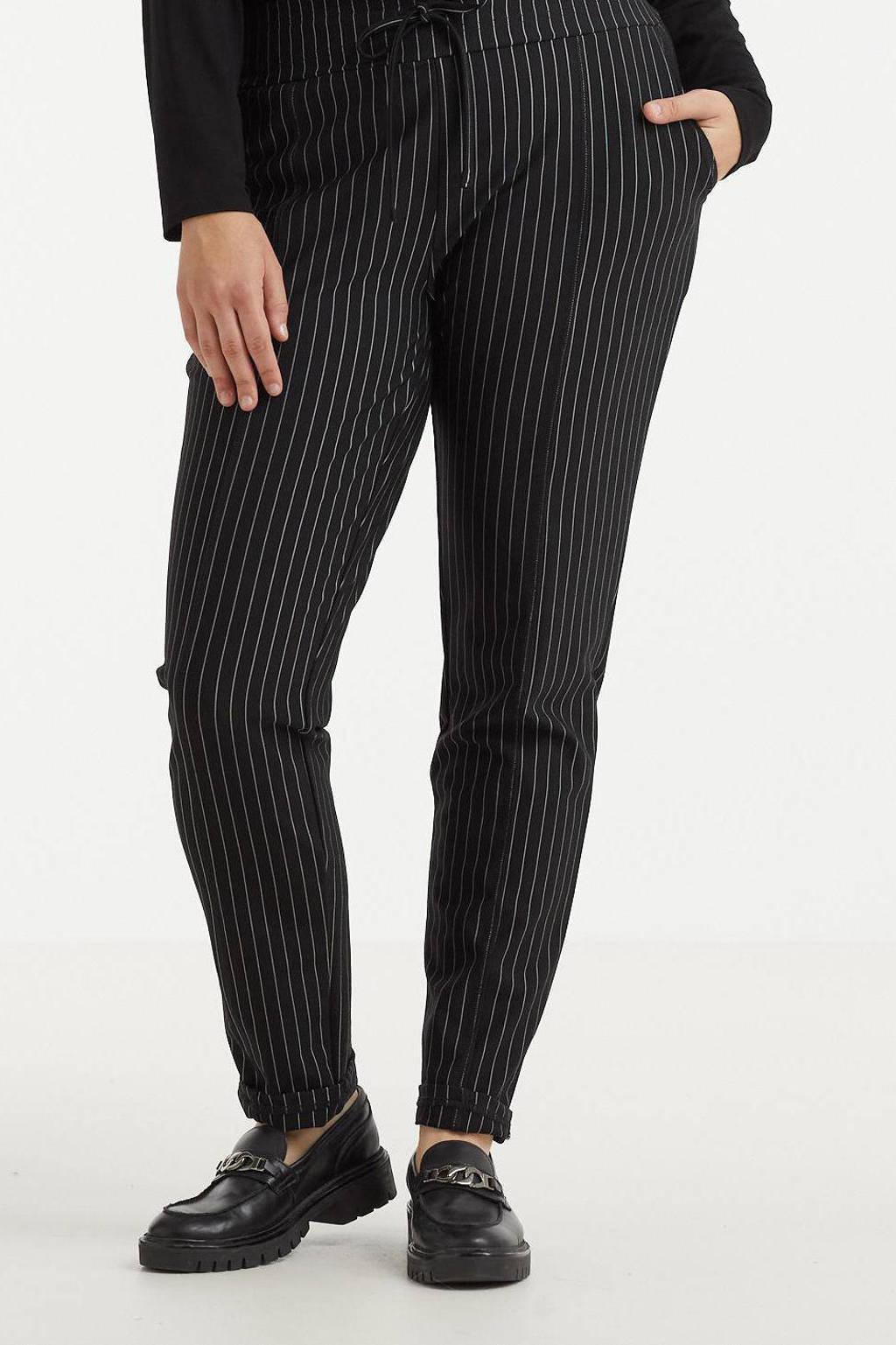 Exxcellent slim fit broek Lianne met krijtstreep zwart/wit, Zwart/wit