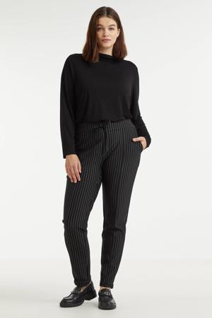 slim fit broek Lianne met krijtstreep zwart/wit