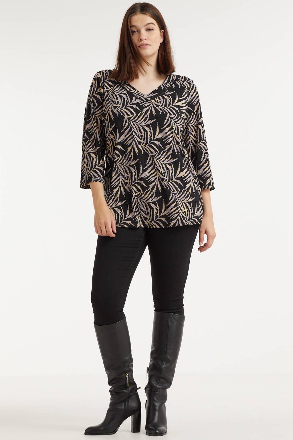 Exxcellent top Lea met bladprint en open detail zwart/lila/lichtbeige, Zwart/lila/lichtbeige
