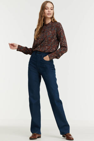 blouse met paisleyprint donkerrood/bruin/blauw