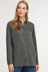 Geisha blouse met studs grijsgroen, Grijsgroen