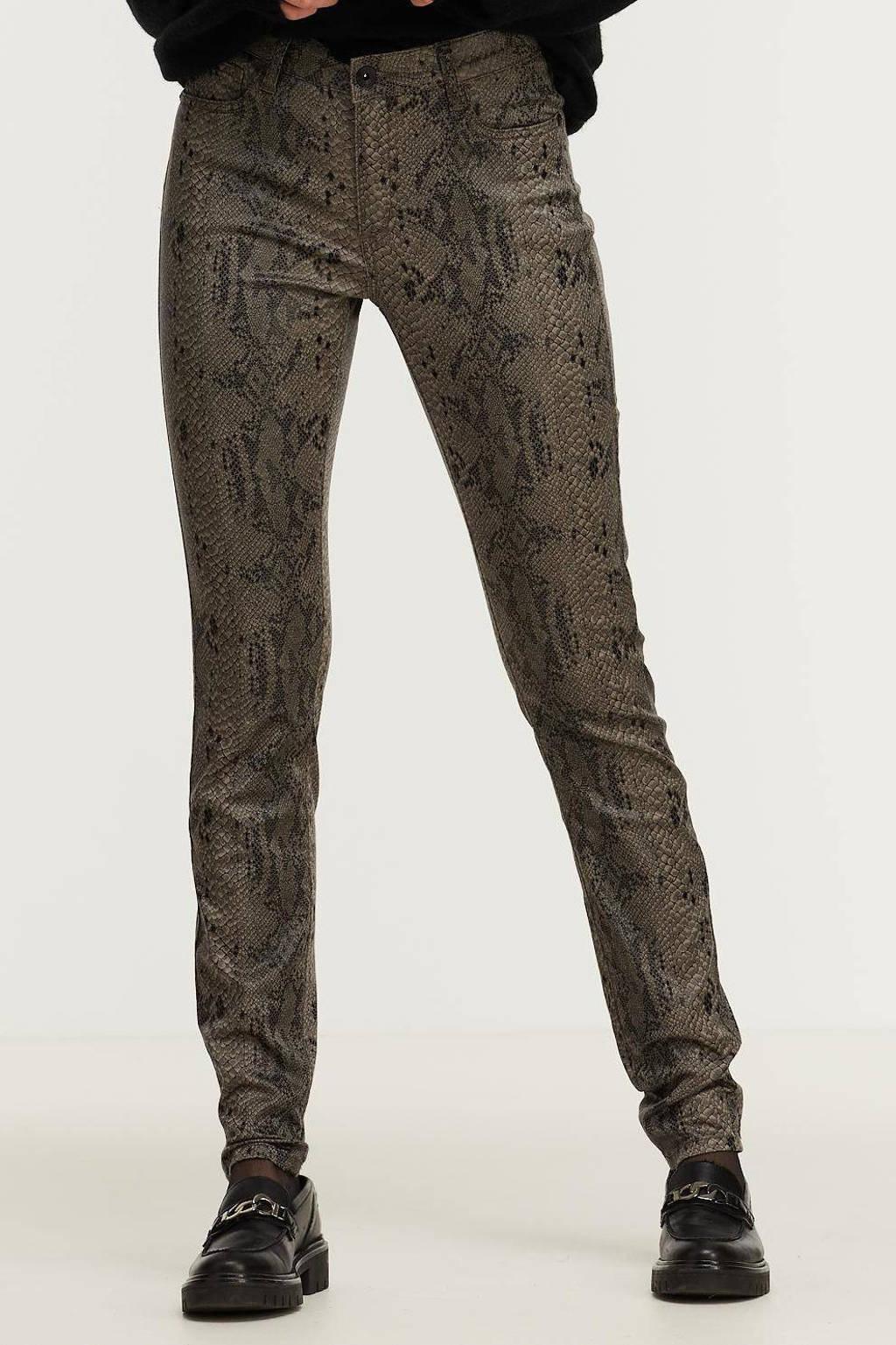Geisha coated skinny broek met slangenprint bruin/zwart, Bruin/zwart
