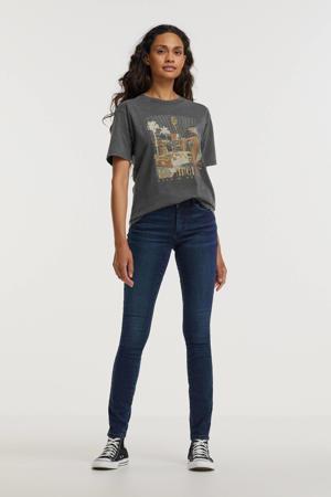T-shirt met printopdruk en glitters grijs