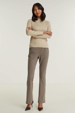 flared broek met pied-de-poule bruin/zwart/brique