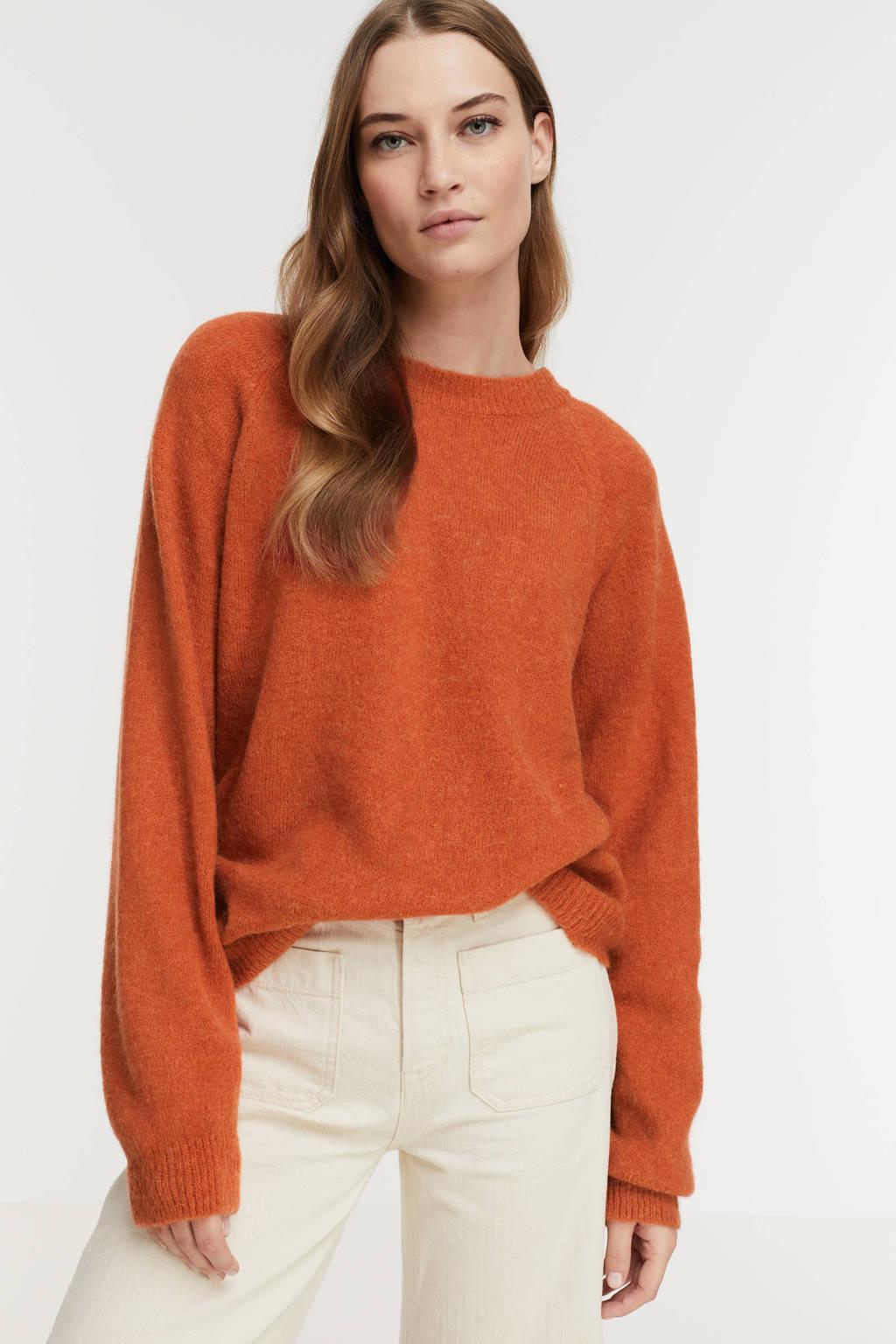 Geisha gebreide trui met wol oranje, Oranje