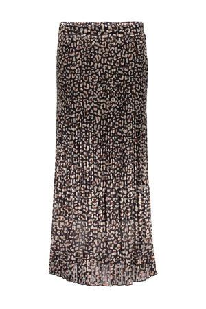 semi-transparante rok met all over print zwart/zand/bruin