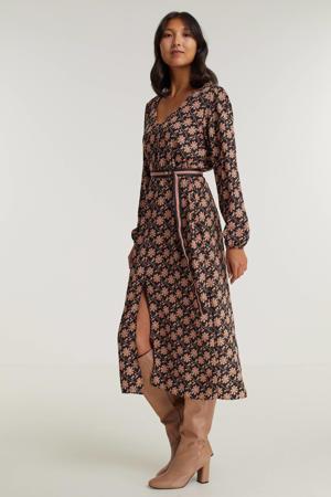 gebloemde jurk zwart/bruin