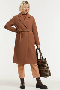 Geisha coat met wol bruin, Bruin