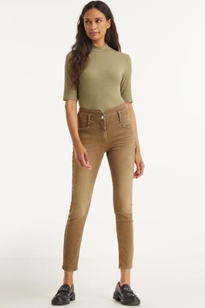 cropped high waist slim fit jeans zand