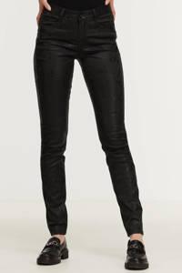 Geisha coated skinny broek met slangenprint zwart, Zwart
