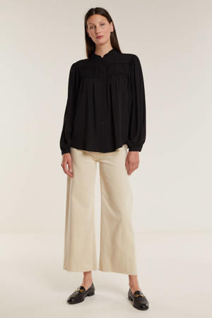 blouse met ruches zwart