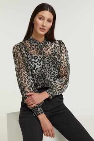 blouse met panterprint bruin/zwart/ecru