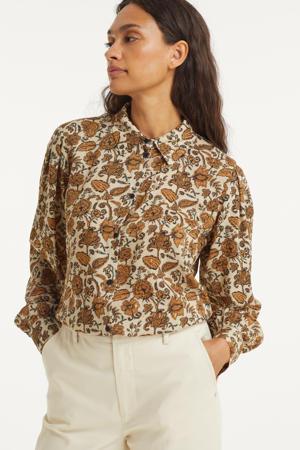 gebloemde blouse ecru/bruin/zwart