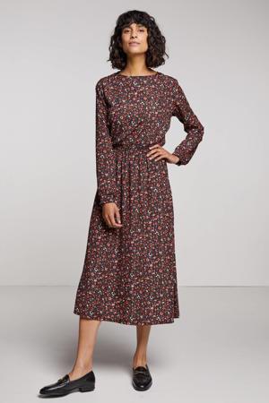 gebloemde jurk roze/zwart/groen/paars