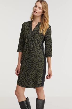 jurk met contrastbies donkergroen/zwart