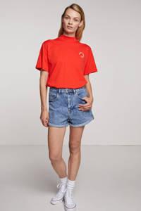 SisterS Point high waist slim fit korte broek OSSY medium blue, Medium blue