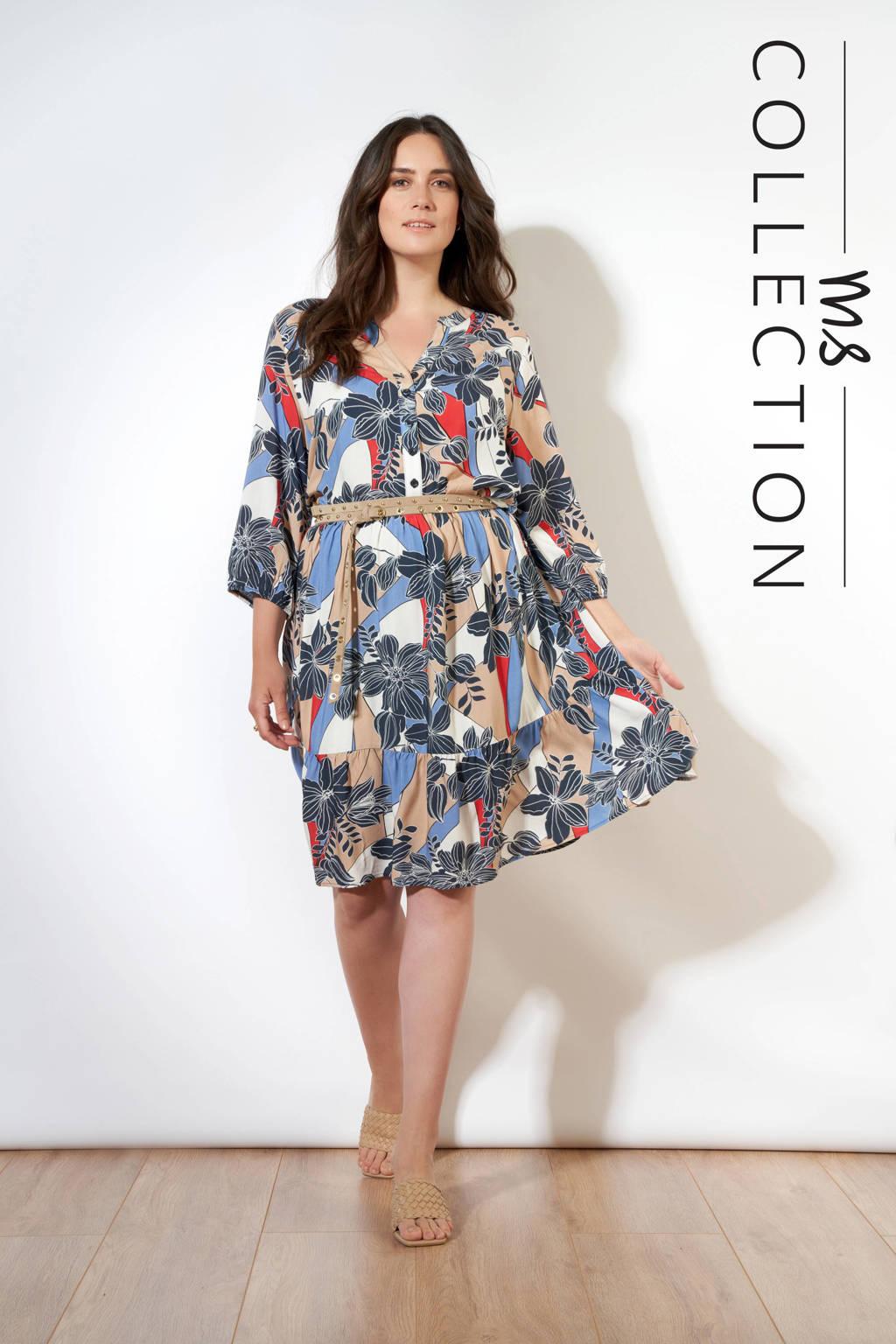 MS Collection gebloemde trapeze jurk wit/blauw/bruin, Wit/blauw/bruin