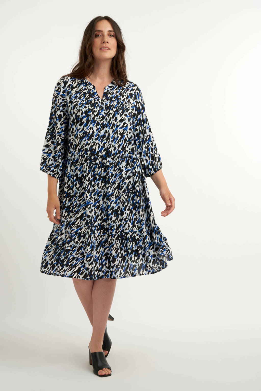 MS Collection trapeze jurk met all over print en volant wit/blauw/zwart, Wit/blauw/zwart