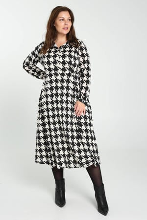 A-lijn jurk met pied-de-poule zwart/ecru