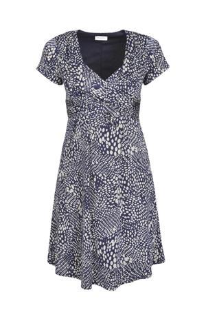 jurk met stippen en plooien donkerblauw/ecru