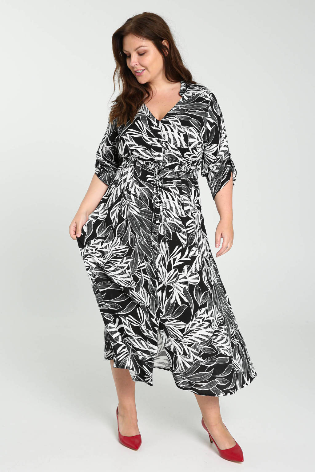 PROMISS jurk met bladprint zwart/wit, Zwart/wit