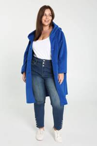 Paprika halflange coat met capuchon blauw, Blauw